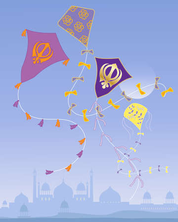 sikhism: an illustration of a colorful punjabi kite festival with sikh symbol designs and a misty city skyline under a blue sky Illustration