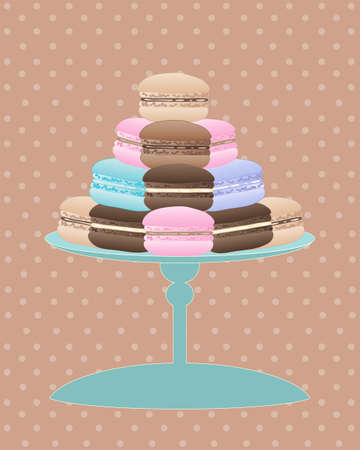 cake stand: an illustration of a cake stand with delicious macaroons in vintage colors on a spotty background