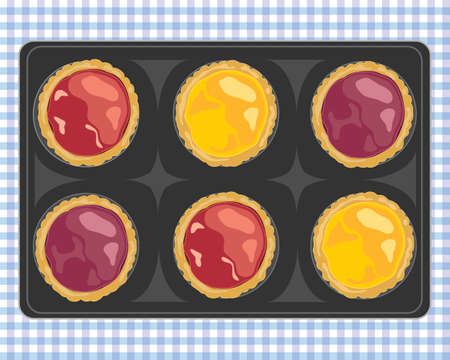freshly baked: an illustration of a tray of freshly baked strawberry plum and lemon jam tarts on a blue gingham cloth Illustration