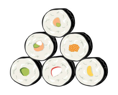 fillings: an illustration of a stack of delicious sushi rolls with different fillings isolated on a white  Illustration