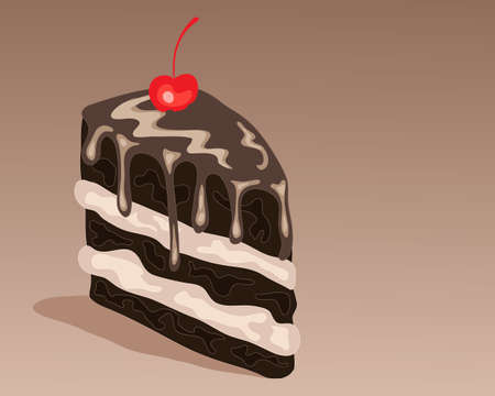 an illustration of a slice of delicious chocolate sandwich cake with chocolate drizzle cream and a red cherry Vector