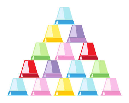 upturned: an illustration of a stack of colorful flower pots in a pyramid shape isolated on a white background