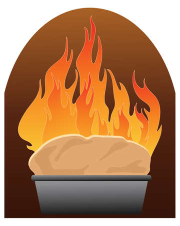 home made: an illustration of a home made loaf baking in a rustic oven with orange flames on a white background