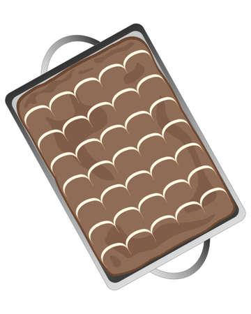 een illustratie van een heerlijke chocolade lade bakken met veren icing decoratie op een witte achtergrond