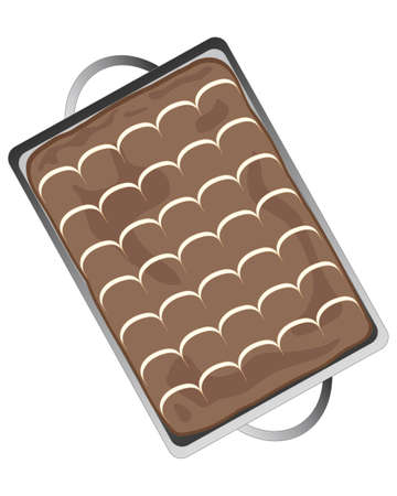 an illustration of a delicious chocolate tray bake with feather icing decoration on a white background