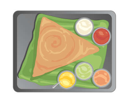 an illustration of a metal tray with a traditional south indian dosa and accompanying chutneys on a banana leaf