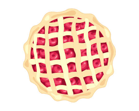 criss cross: an illustration of an american style cherry pie with fresh fruit and pastry criss cross decoration on a white background