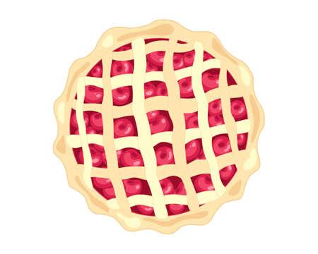 tarte aux cerises: une illustration d'un style de tarte cerise am�ricaine avec des fruits frais et des p�tisseries criss d�coration croix sur un fond blanc