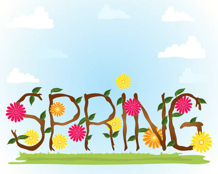 an illustration of a springtime background with flowers leaves and branches spelling the word spring on a blue sky with fluffy white clouds Stock Vector - 26592283