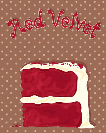 cremoso: an illustration of a delicious slice of red velvet cake with creamy frosting on a chocolate dotty background