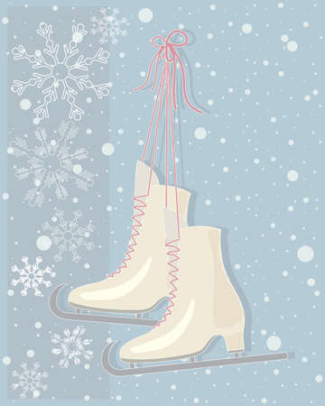 dusky: an illustration of a pair of vintage ice skates with dusky pink laces on a snowy abstract background