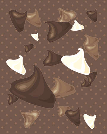 chocolate chips: an illustration of a delicious dark milk and white chocolate chips scattered on a dotty background Illustration