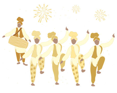 kameez: an illustration of a bhangra dance in gold with fireworks on a white background