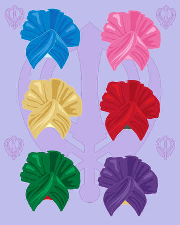 sikhism: an illustration of colorful bhangra style turbans with sikh symbol on a lilac background Illustration