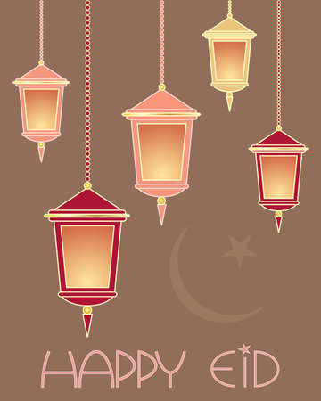 an illustration of a festive eid greeting card with lanterns and the words happy eid on a brown background