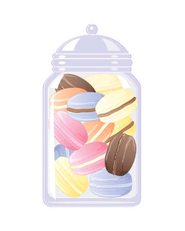 afternoon tea: an illustration of a glass biscuit jar full of delicious colorful macaroons on a white background