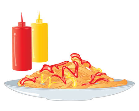 an illustration of a plate of crispy golden chips with ketchup and mustard accompaniment on a gray plate with sauce bottles on a white background Vector