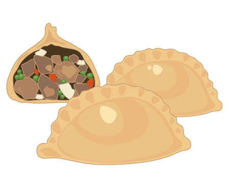 an illustration of three meat and potato pasties two whole and one half showing the filling isolated on a white background