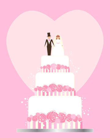 tiers: an illustration of a wedding invitation greeting card with cake bride and groom flowers and love heart in shades of pink