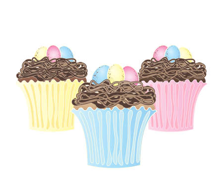 easter nest: an illustration of three birds nest cupcakes with speckled chocolate eggs in colorful liners isolated on a white background Illustration