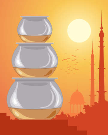 pakistan: an illustration of three metal indian cooking pots with flat tops and copper bottoms in a stack with classic india sunset