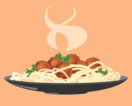 savoury: an illustration of a plate of freshly made meatballs with spaghetti and salad leaf and rising steam