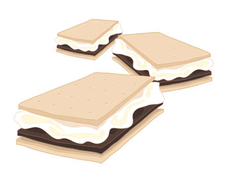 an illustration of delicious american smores crunchy biscuit with marshmallow and chocolate isolated on a white background Illustration
