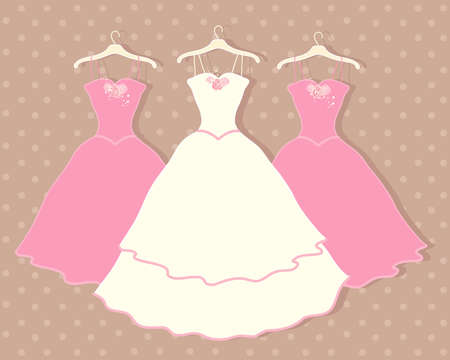 an illustration of a wedding dress on a hanger with two pink bridesmaid dresses behind on a brown spotty background