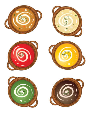 earthenware: an illustration of a selection of earthenware tureens with different flavors of soup and a cream swirl on a white background