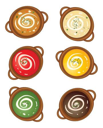 earthenware: una ilustraci�n de una selecci�n de loza soperas con diferentes sabores de sopa y un remolino de crema sobre un fondo blanco