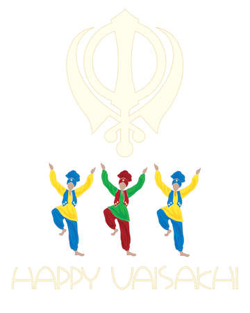 an illustration of a sikh vaisakhi greeting card with dancers symbol and the words happy vaisakhi on a white background