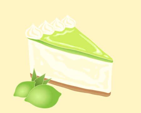 een illustratie van een deel van heerlijke Key Lime taart met biscuit base crème vulling en pittige limoen fruit topping met room wervelingen en limoenen op een gele achtergrond