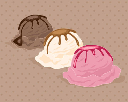 drizzle: an illustration of scoops of neapolitan ice cream with a drizzle of sauce on a chocolate background