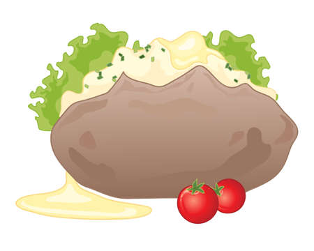 an illustration of a baked jacket potato with butter lettuce and tomato isolated on a white background Vector