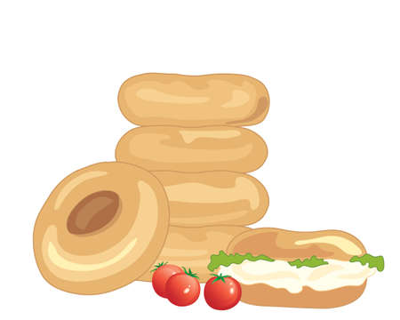 cream cheese: an illustration of a stack of bagels one leaning and one filled with cream cheese and lettuce and some cherry tomatoes on a white background