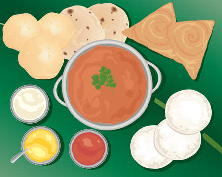 an illustration of a delicious indian meal with poori chapatti idly dosa and various curry dishes on a banana leaf Illustration