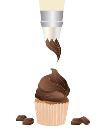 an illustration of a piping bag frosting a chocolate cupcake isolated on a white background