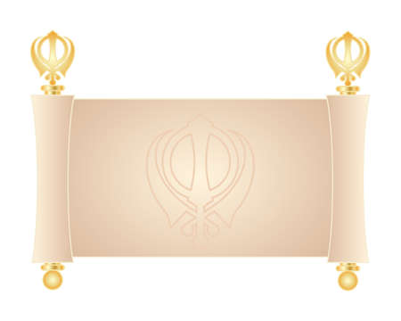 khanda: an illustration of a decorative blank parchment scroll with golden trimmings and sikh emblem isolated on a white background Illustration