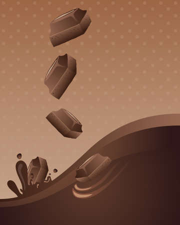 an illustration of chunks of chocolate falling in to waves of liquid chocolate