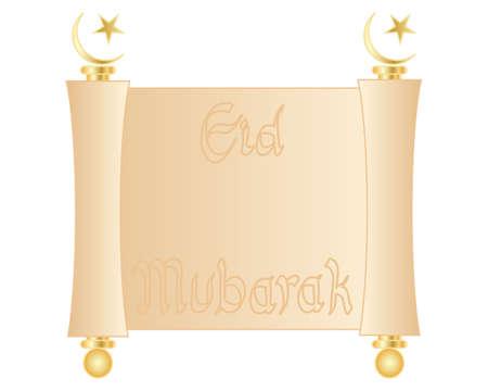 croissant de lune: une illustration d'un parchemin vierge rouleau d�coratif avec des garnitures en or et le croissant de lune islamique et �toile isol�e sur un fond blanc Illustration