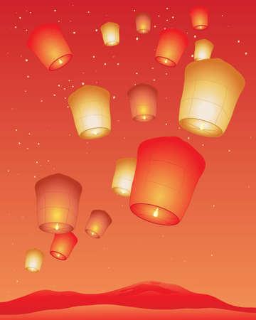 sky lantern: une illustration d'un festival de lanterne chinois avec des lanternes de ciel lumineux sur un fond rouge et or Illustration