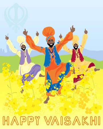 salwar: an illustration of three punjabi men dancing to celebrate the harvest festival of vaisakhi with mustard flowers and sikh emblem under a blue sky