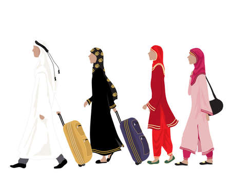 an illustration of arab people dressed in traditional clothing walking along with luggage on a white background