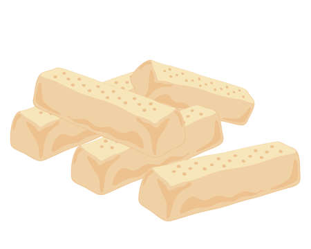 shortbread: an illustration of home baked shortbread fingers in a pile isolated on a white background