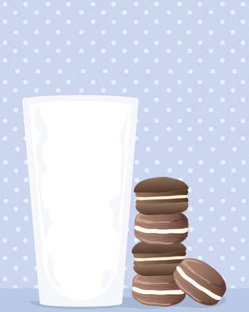spotty: an illustration of a glass of milk with a stack of chocolate cream biscuits on a pale blue spotty background