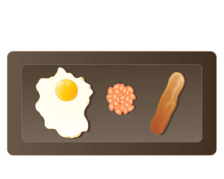 baked beans: an illustration of a small breakfast including fried egg a spoonful of baked beans and a sausage on a dark plate on a white background