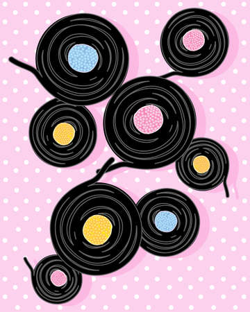 liquorice: an illustration of classic liquorice spirals with candy middle on a pink background