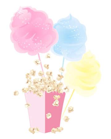 illustration of food: una ilustraci�n de aperitivos dulces de algod�n de az�car y palomitas de ma�z en una caja de cart�n de color rosa sobre fondo blanco