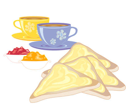 buttered: an illustration of slices of buttered toast with marmalade jam and cups of tea