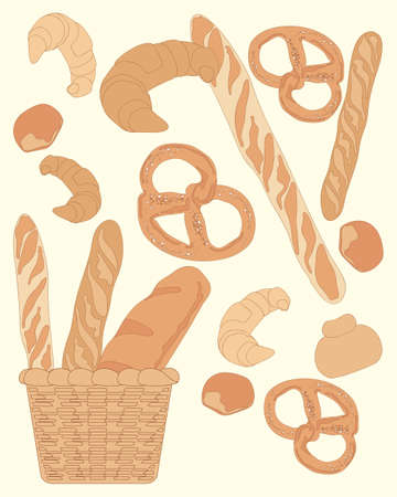 basic: an illustration of an abstract bread design with different types of loaves pretzels and bread buns on a pale lemon background Illustration